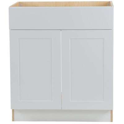 Cambridge Assembled 30x34.5x24.5 in. All Plywood Sink Base Cabinet with False Drawer Front in White