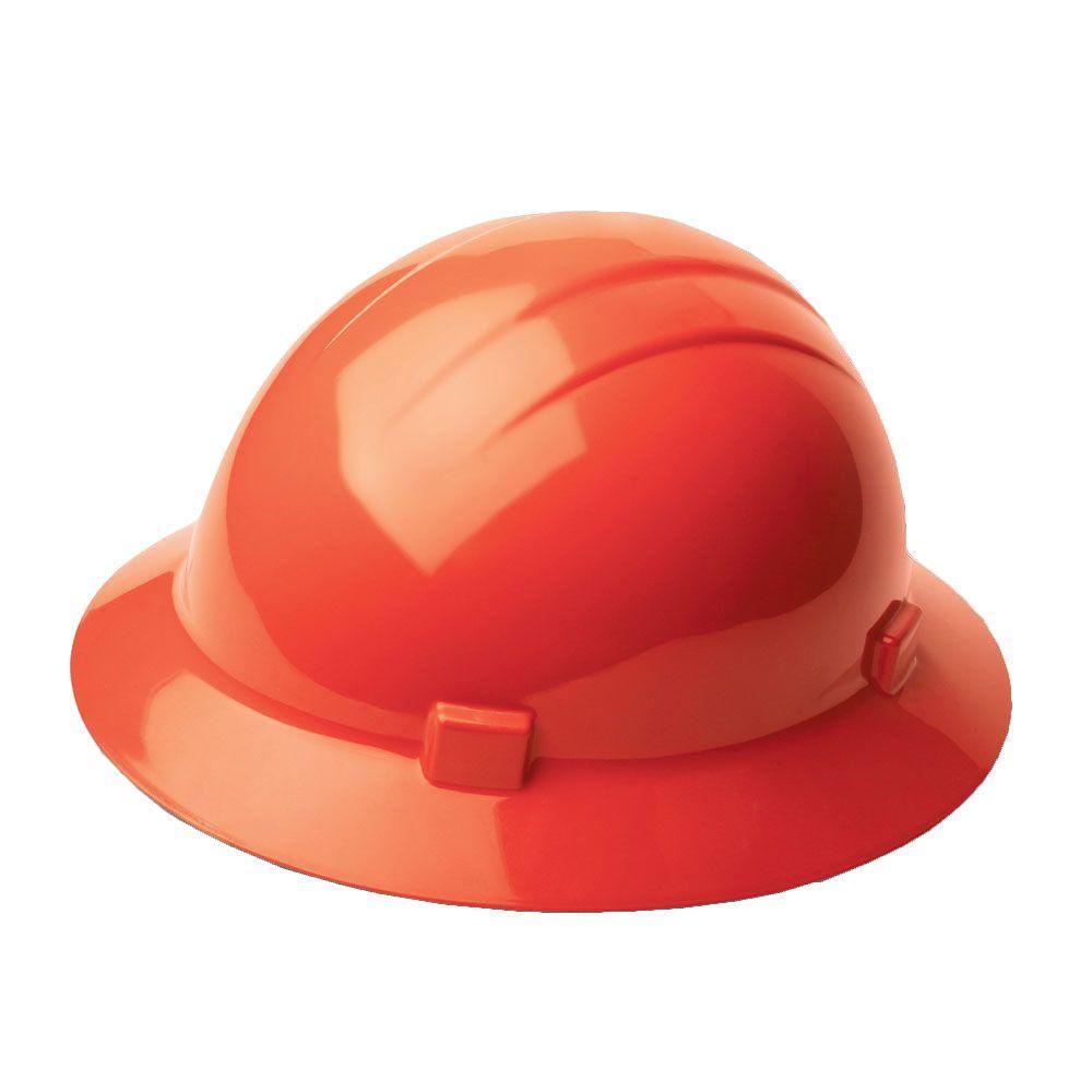 4 Point Nylon Suspension Slide-Lock Full Brim Hard Hat in Hi Viz Orange