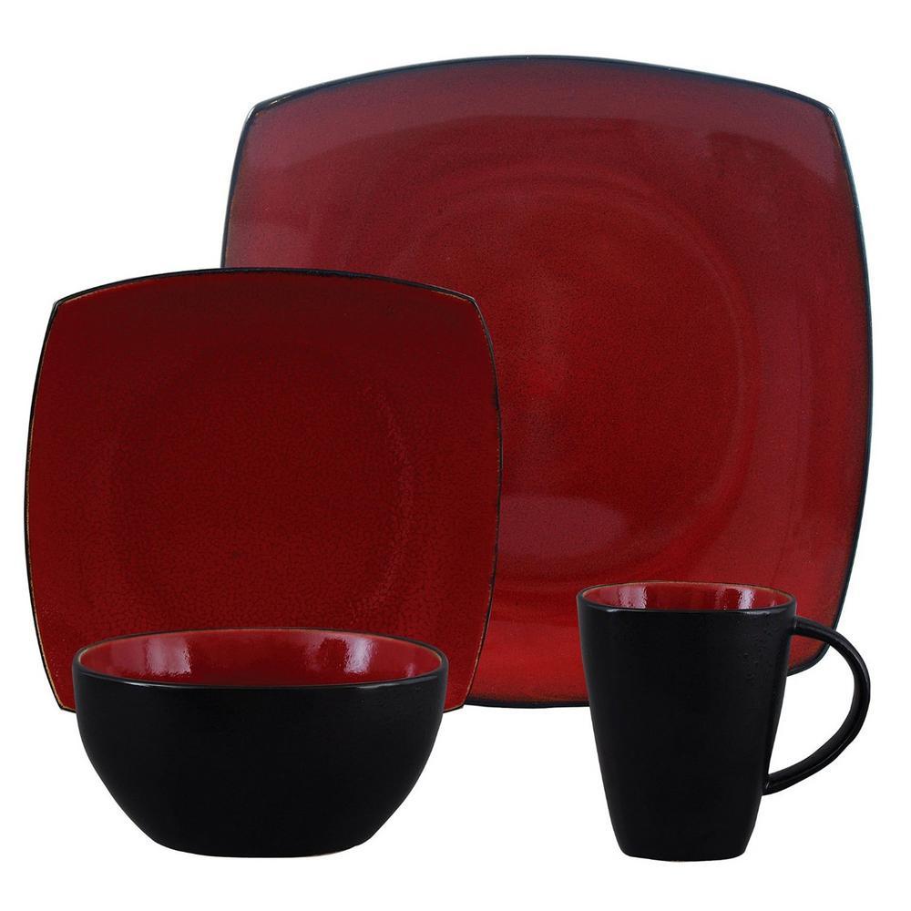 Soho Lounge 16-Piece Red Dinnerware Set