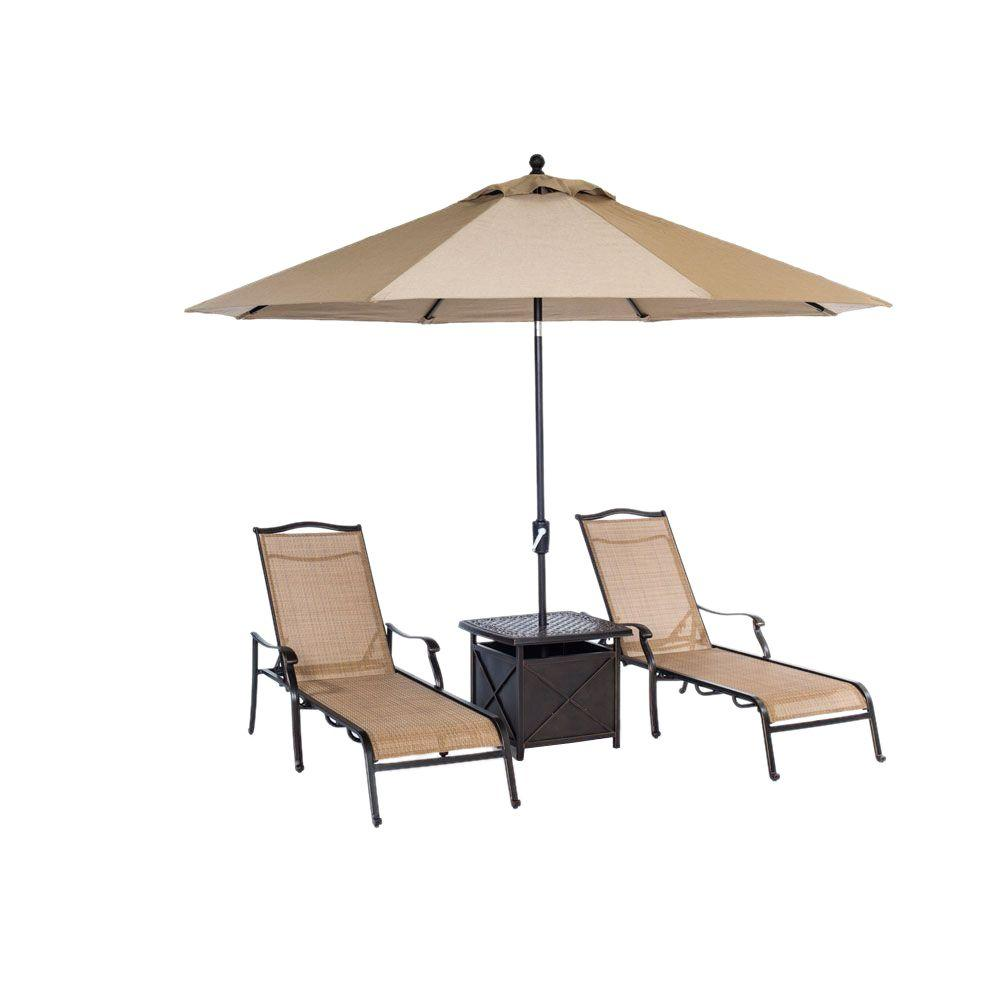 Monaco 4 Piece Patio Chaise Lounge Set With 11 Ft Umbrella And Side Table