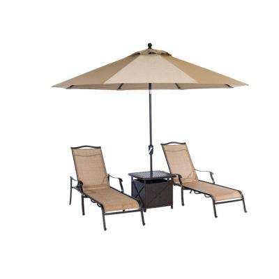 Monaco 4-Piece Patio Chaise Lounge Set with 11 ft. Umbrella and Side Table