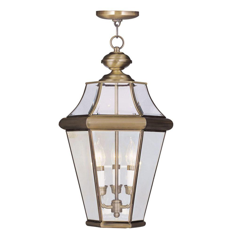 Georgetown 3 Light Antique Brass Outdoor Pendant Lantern
