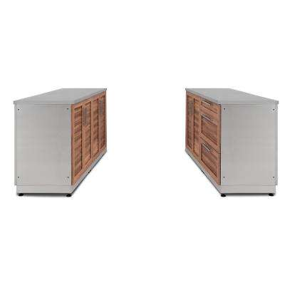 Natural Cherry 6-Piece 128 in. W x 36.5 in. H x 24 in. D Outdoor Kitchen Cabinet Set with Countertops and Covers