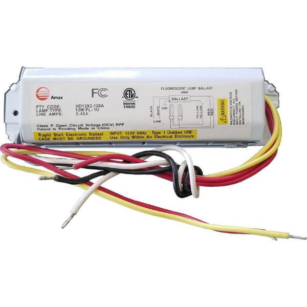 Amax Lighting 120 Volt 6 63 In Electronic Ballast 2 Pl 13 Watt Lamps Hd13x2 120a The Home Depot