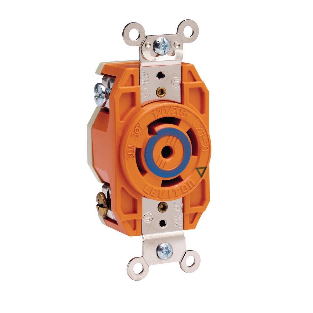 30 Amp 120/208-Volt 3-Phase Flush Mounting Isolated Ground Locking Outlet, Orange