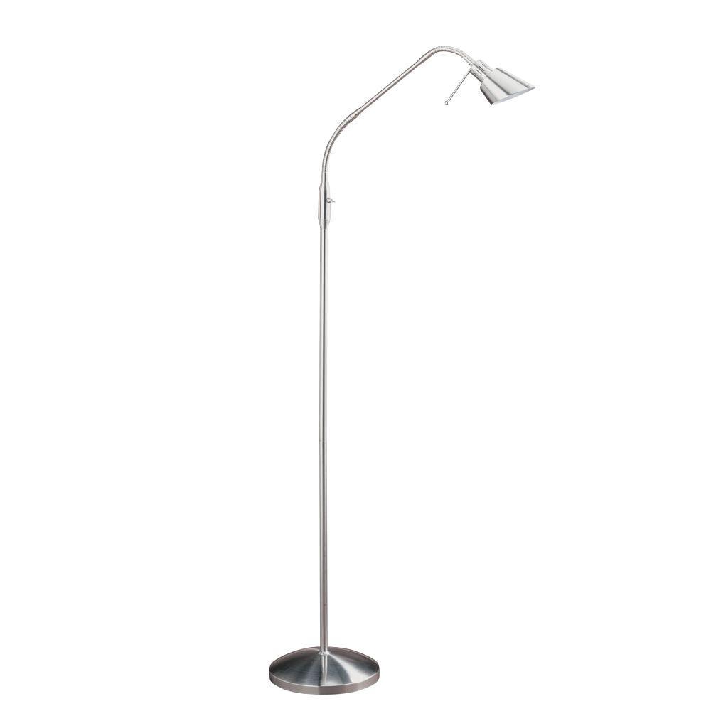 53 in. Satin Nickel Halogen Floor Lamp