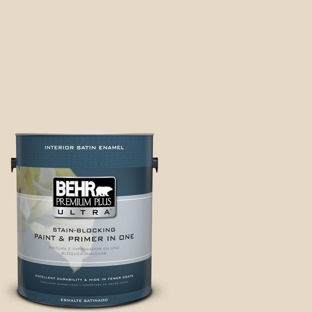 Behr Premium Plus Ultra 1 Gal 23 Antique White Satin Enamel Interior Paint And Primer In One 775001 The Home Depot
