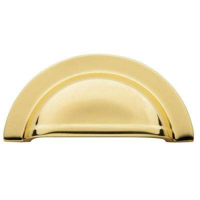 Cup 3 in. Polished Brass Cabinet Pull