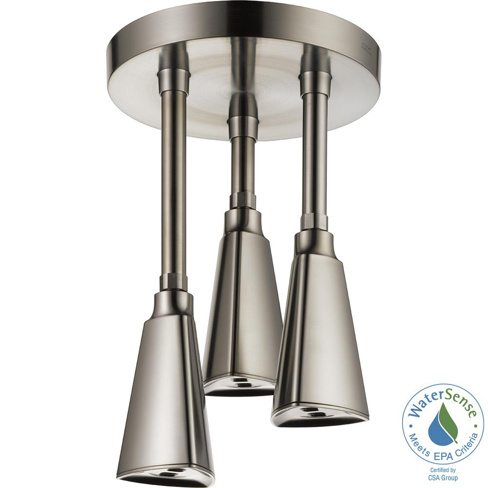 Delta Zura Pendant 1 Spray Fixed Shower Head With H2Okinetic Spray In  Stainless 57140 SS   The Home Depot