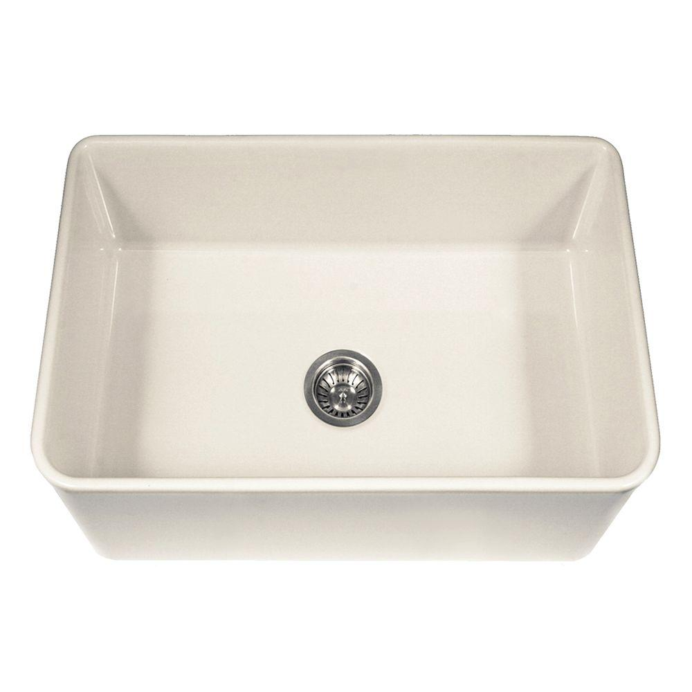 Houzer platus series farmhouse apron front fireclay 30 in single bowl kitchen sink in biscuit - Bq kitchen sinks ...