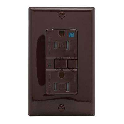 GFCI Self-Test 15A -125V Tamper and Weather Resistant Duplex Receptacle with Standard Size Wallplate, Brown