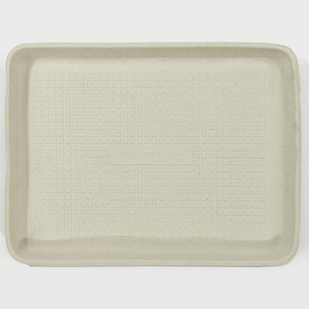 StrongHolder 9 in. x 12 in. x 1 in. Molded Fiber Food Trays, Beige, 250 Per Case