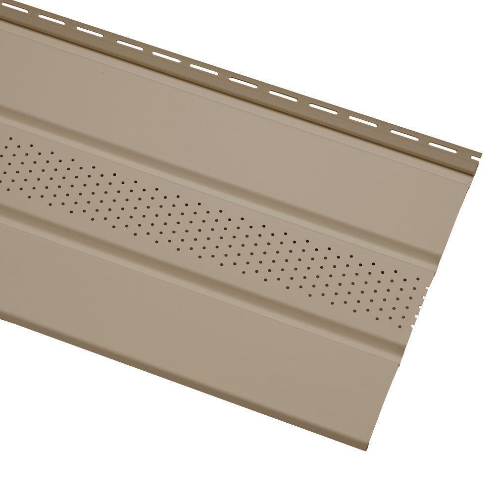Home Depot Exterior Siding: Cellwood Economy Triple 4 In. Khaki Solid Vinyl Soffit