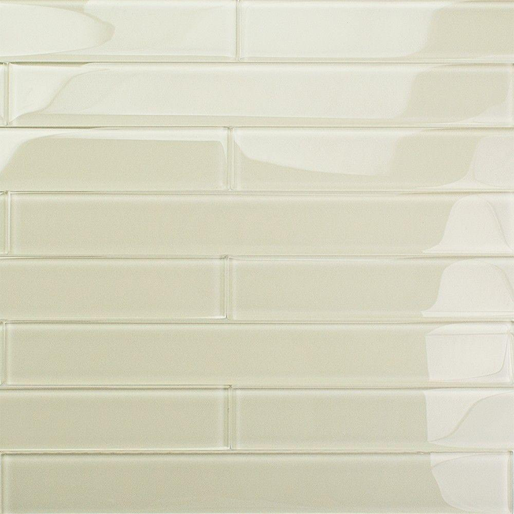 Splashback Tile Contempo Vista Polished Sand Beach Glass Subway Wall