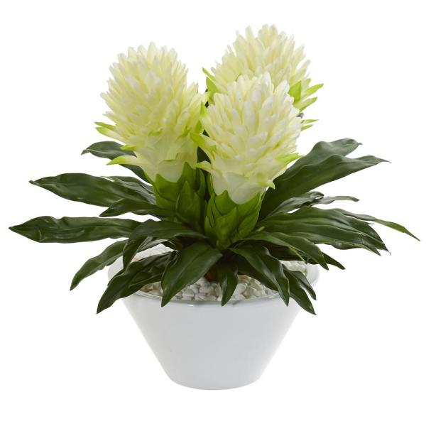 Nearly Natural Indoor 17 Ginger Artificial Plant in White Vase