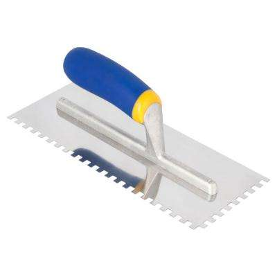 11 in. x 1/4 in. x 1/4 in. Square-Notch Stainless Steel Flooring Trowel with Comfort Grip