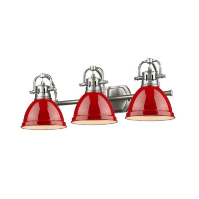 Duncan 3-Light Pewter Bath Light with Red Shade