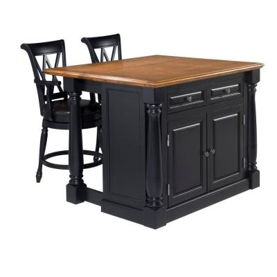 Monarch Black Kitchen Island With Seating