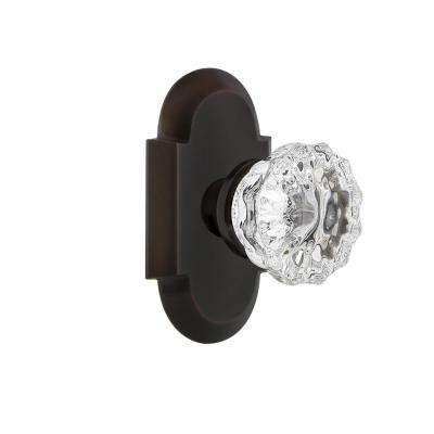 Cottage Plate 2-3/8 in. Backset Timeless Bronze Privacy Bed/Bath Crystal Glass Door Knob