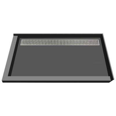 48 in. x 72 in. Double Threshold Shower Base with Back Drain in Gray and Polished Chrome Trench Grate