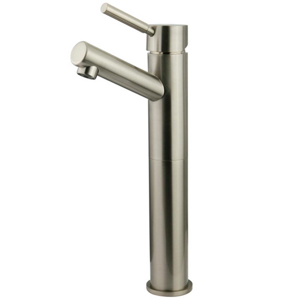 Kingston Brass 10 in. Single Hole Single-Handle High-Arc Vessel Bathroom Faucet in Satin Nickel
