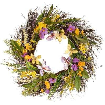 24 in. Spring Mixed Flowers Wreath