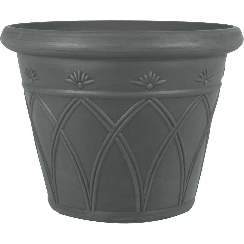 Beau Pride Garden Products 16 In. Dia Arch Charcoal Gray Plastic Planter