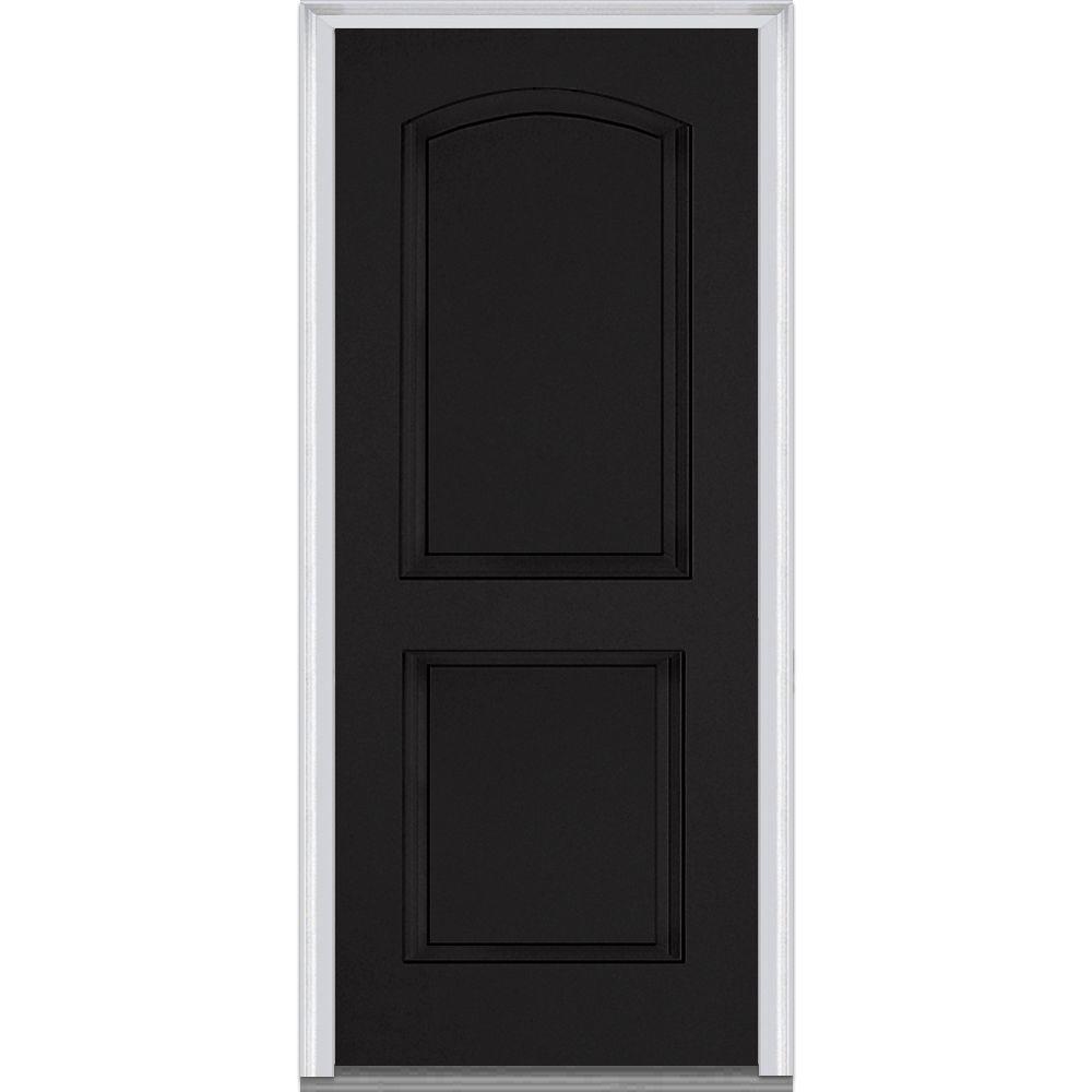 MMI Door 32 in. x 80 in. Right-Hand Inswing 2-Panel Archtop Classic Painted Fiberglass Smooth Prehung Front Door