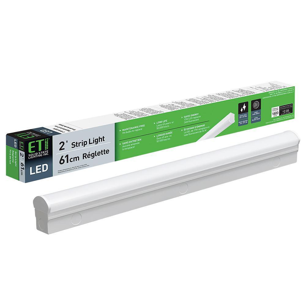 2 ft. 32-Watt Equivalent Integrated LED White Strip Light Fixture 4000K Bright White 1800 Lumens Direct Wire 120-277V