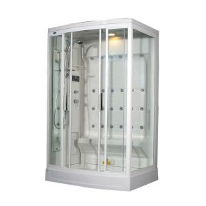 Aston ZA219 52 inch x 39 inch x 85 inch Steam Shower Enclosure Kit in White with 24 Body Jets and Left Drain by Aston