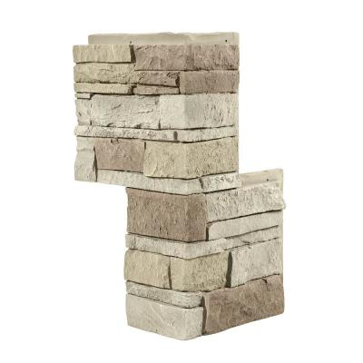 12 in. x 24 in. Stacked Stone Vanilla Bean Faux Stone Siding Outside Corner Panel