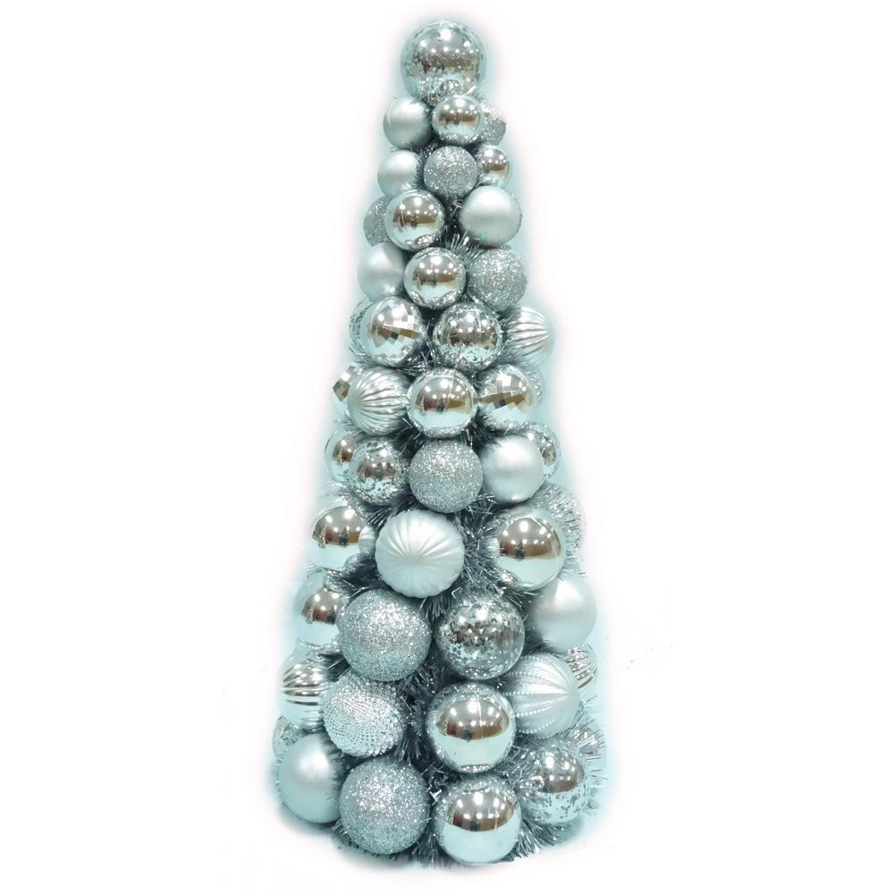 18 in. Shatterproof Ornament Cone Tree in Silver