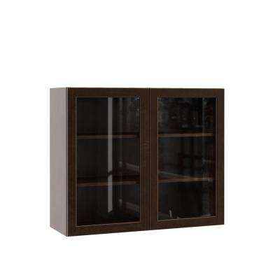 Gretna Assembled 36x30x12 in. Wall Kitchen Cabinet with Glass Doors in Espresso