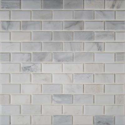 Greecian White Beveled 12 in. x 12 in. x 10 mm Polished Marble Mesh-Mounted Mosaic Tile (1 sq. ft.)