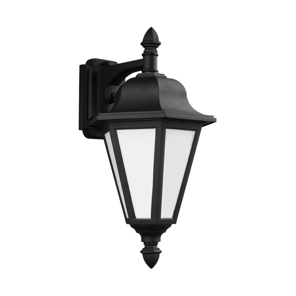 Sea Gull Lighting Brentwood 1-Light Black Outdoor 18 in. Wall Lantern Sconce