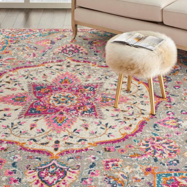 Nourison Passion Grey Multicolor 9 Ft X 12 Ft Persian Vintage Area Rug 717955 The Home Depot