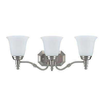 3-Light Satin Nickel Vanity Light with Frosted Glass Shade