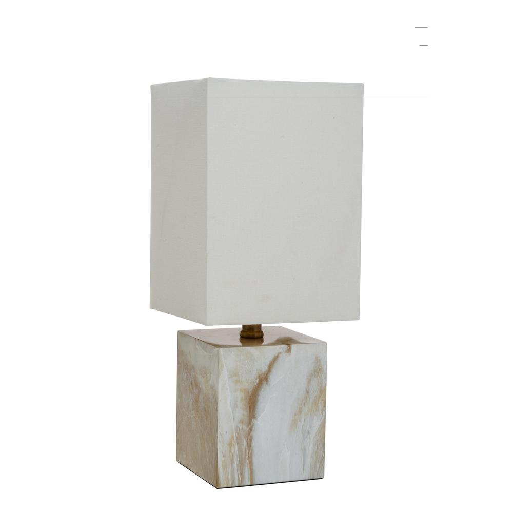 17 in. Faux Marble Accent Lamp with Square White Shade