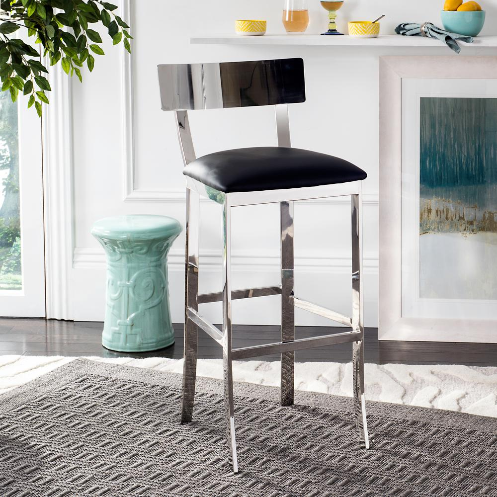 safavieh abby 30 5 in stainless steel bar stool in black fox2037a the home depot. Black Bedroom Furniture Sets. Home Design Ideas