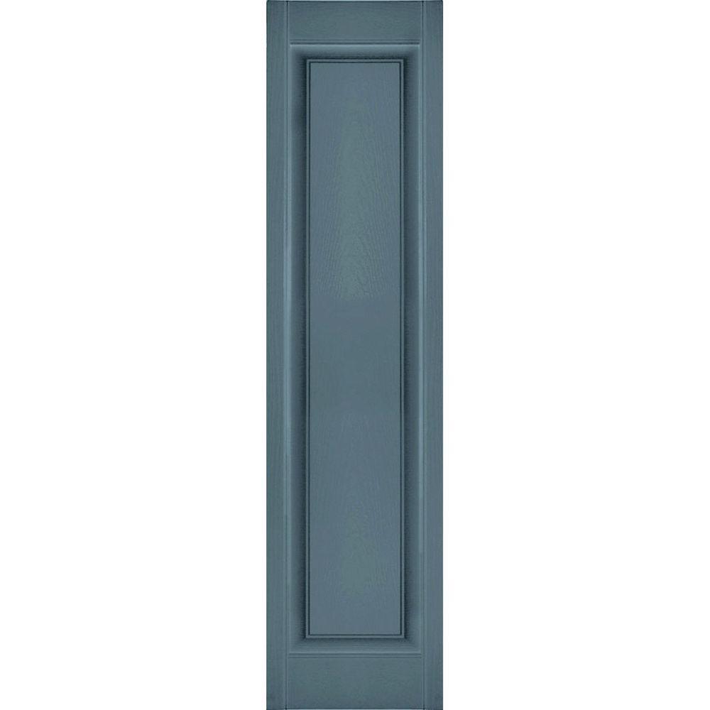 Ekena Millwork 12 in. x 53 in. Lifetime Vinyl Custom Single Raised Panel Shutters Pair Wedgewood Blue