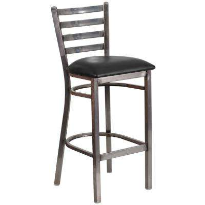 31 in. Black and Clear Steel Cushioned Bar Stool