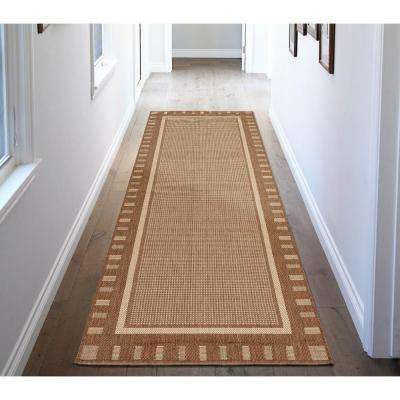 Jardin Collection Contemporary Bordered Design Brown 3 ft. x 7 ft. Outdoor Runner Rug