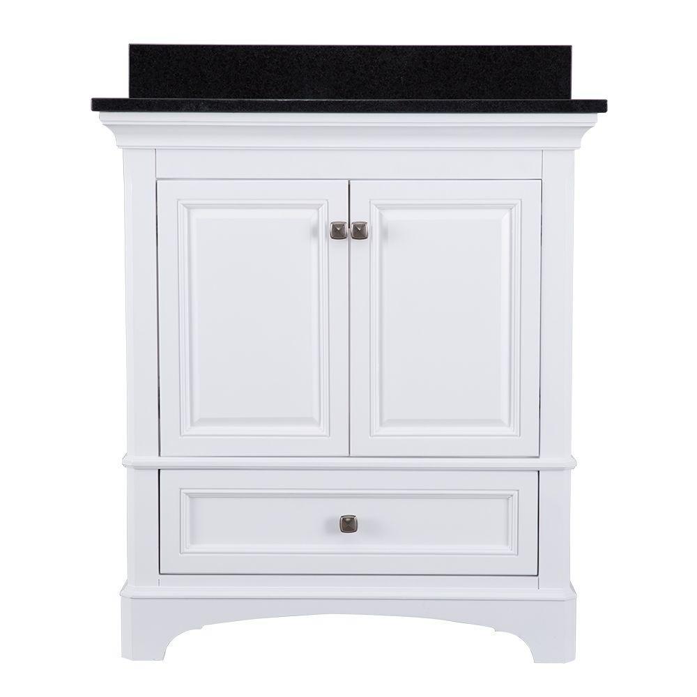 Home Decorators Collection Moorpark 31 in. W x 22 in. D Bath Vanity in White with Granite Vanity Top in Black