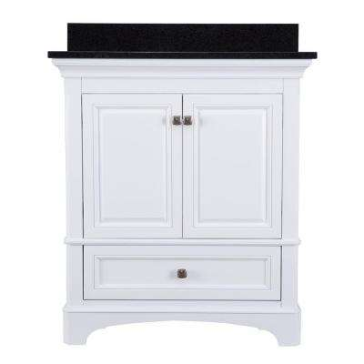 Moorpark 31 in. W x 22 in. D Bath Vanity in White with Granite Vanity Top in Black
