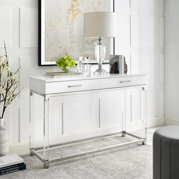 Caspian 48 in. White/Chrome Standard Rectangle Wood Console Table with Drawers