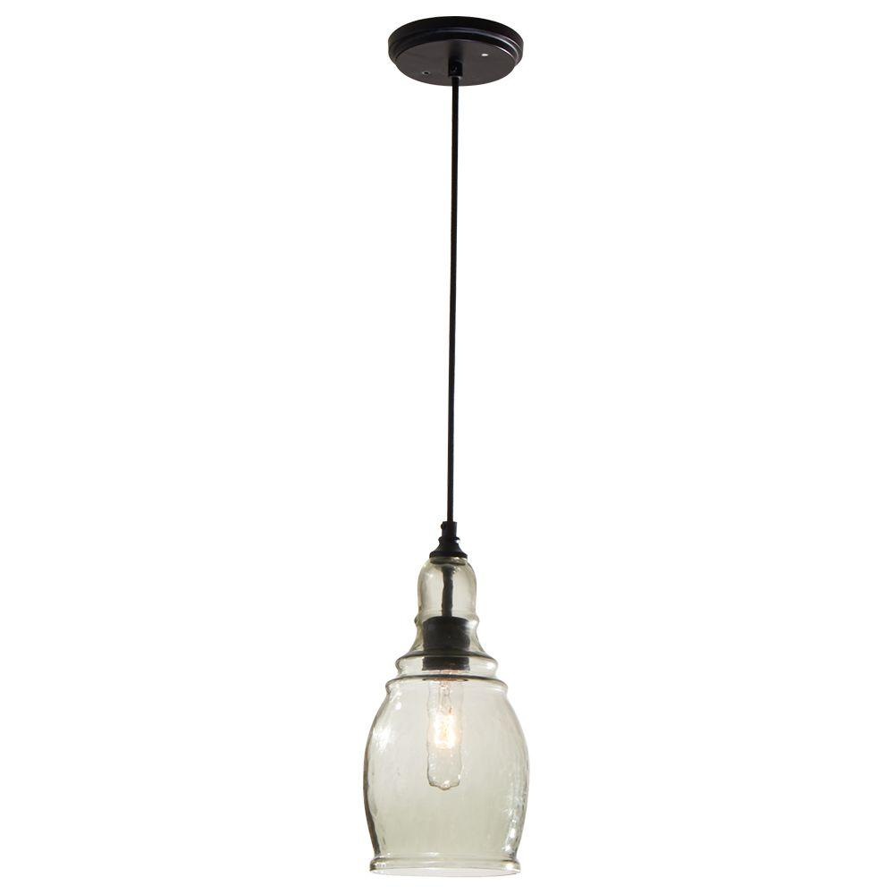 hampton bay 1 light black mini pendant with clear glass shade 17221