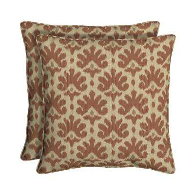Sunbrella Impala Terra Cotta Square Outdoor Throw Pillow (2-Pack)