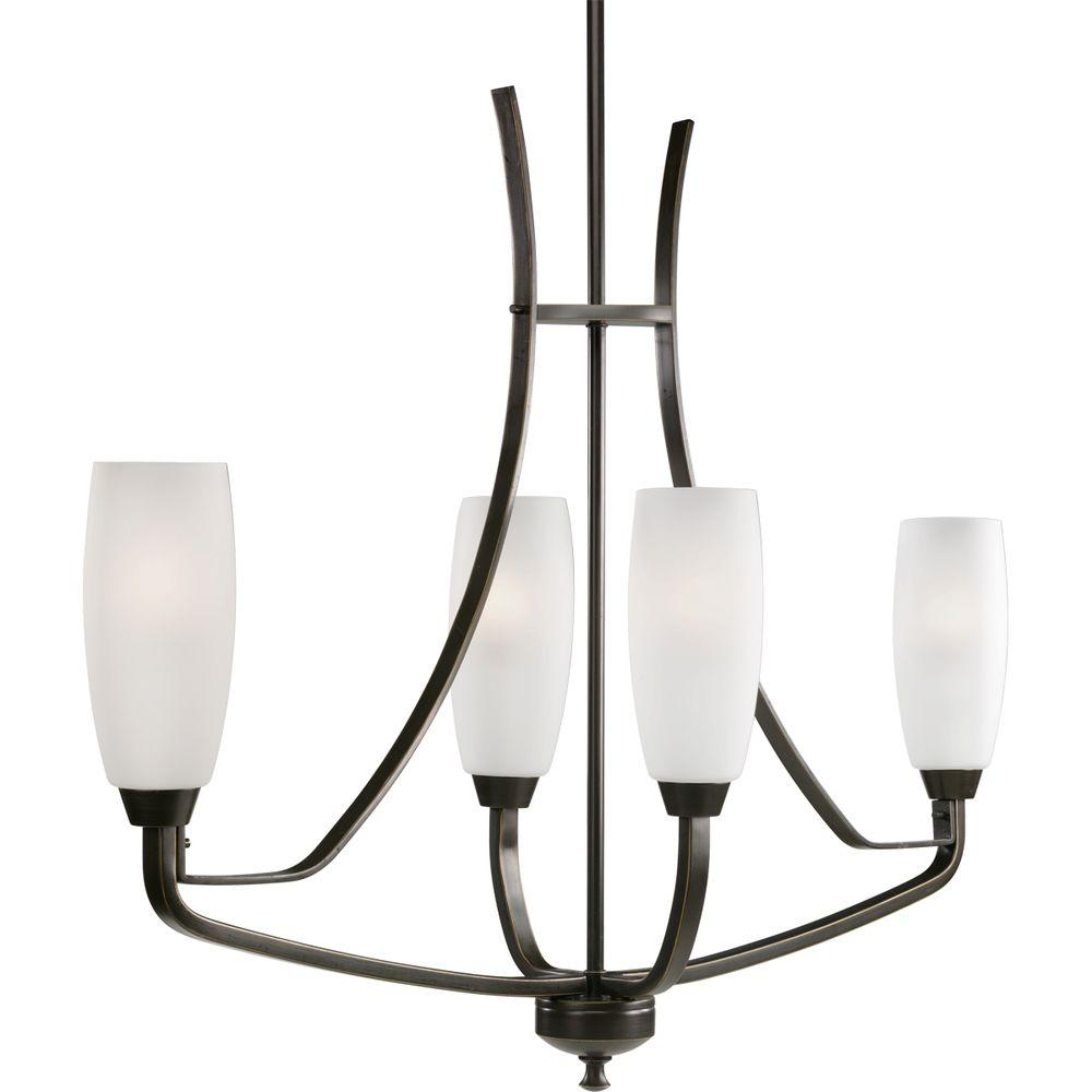Progress Lighting Wisten Collection 4-Light Antique Bronze Chandelier with Shade with Etched Glass Shade