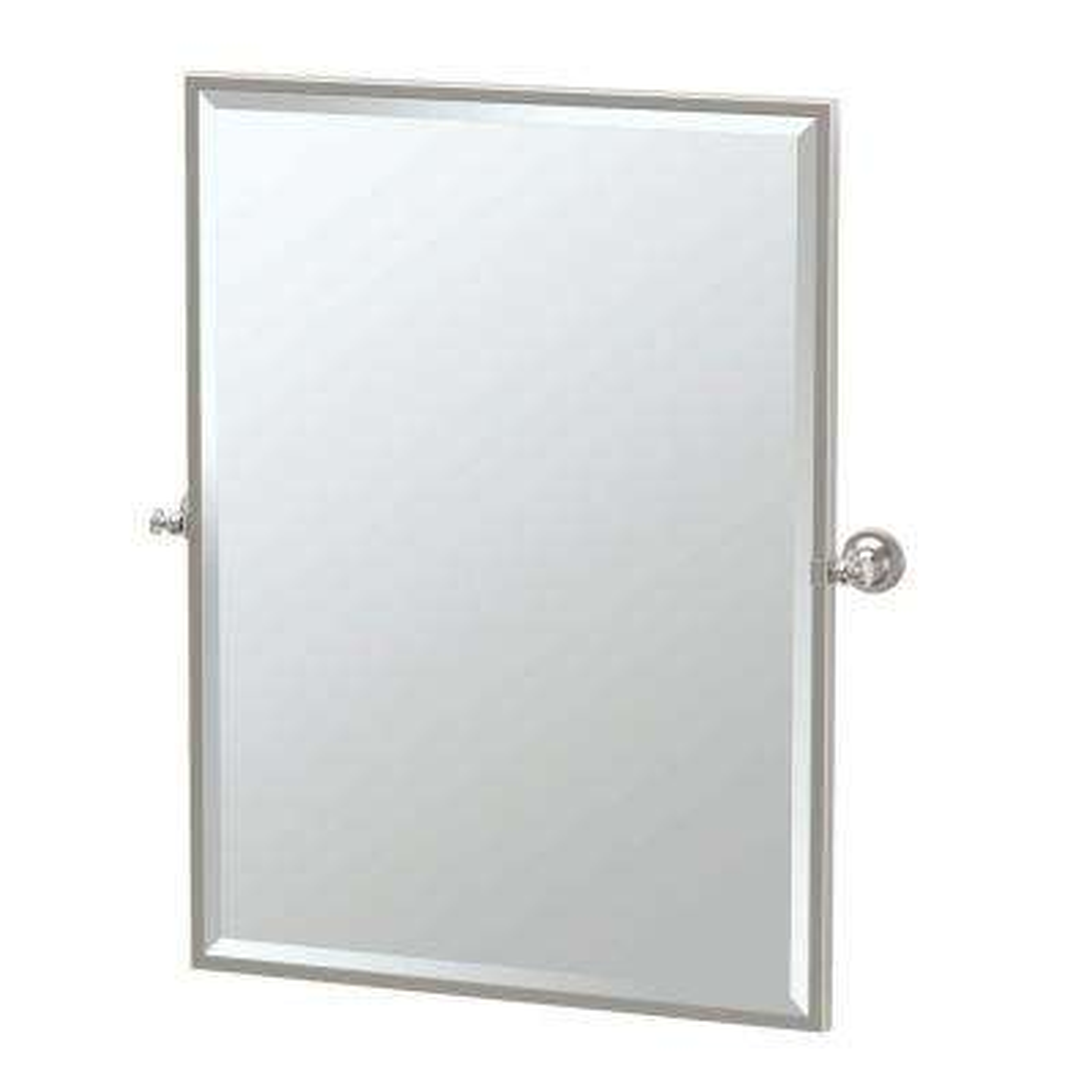 Tavern 28 in. x 33 in. Framed Single Rectangle Mirror in Satin Nickel