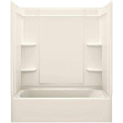Ensemble Medley 60 in. x 31.25 in. x 77 in. 4-piece Tongue and Groove Tub Wall in Biscuit